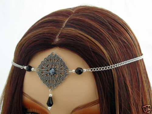 BLACK Renaissance Medieval tiara headpiece SCA CIRCLET