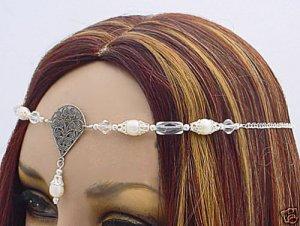 Pearl Wedding CIRCLET tiara veil crown Renaissance SCA #3067