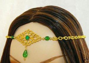 GREEN medieval renaissance ELViN CIRCLET crown tiara