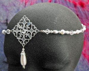 renaissance Pearl Circlet headpiece wedding crown tiara #1605