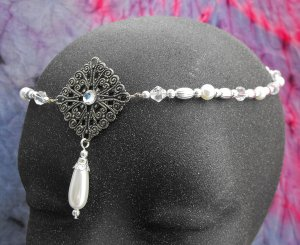 Medieval Pearl Circlet headpiece wedding crown tiara #1606