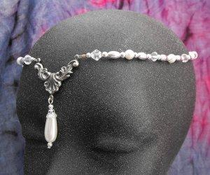 Pearl medieval Circlet head piece wedding crown tiara #1613