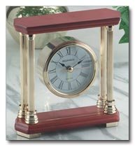 Brookwood Desk Clock with wood top and bottom.