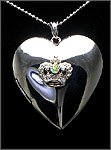 RHODIUM PLATED HEART WITH CROWN LOCKET NECKLACE