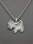 SILVER DOG WITH CRYSTAL PAVED COLLAR NECKLACE