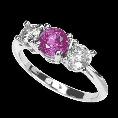 WHITE  DIAMOND  PINK  SAPPHIRE  ENGAGEMENT  RING