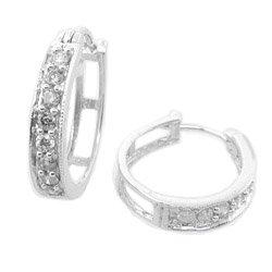 HALF CARAT  WHITE  DIAMOND  HOOP  EARRINGS