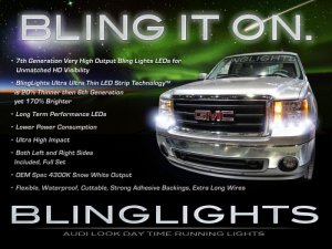 2007 2008 2009 2010 GMC Sierra DRL LEDs for headlights headlamps head lights day time running lamps