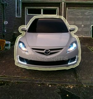 2009 2010 Mazda6 LEDs DRLs Day Time Running Lamps Strip Lighting Mazda 6 Lights kit