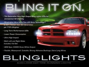 2006 2007 2008 2009 2010 Dodge Charger LED DRL Strips for Headlamps Headlights Head Lamps Lights