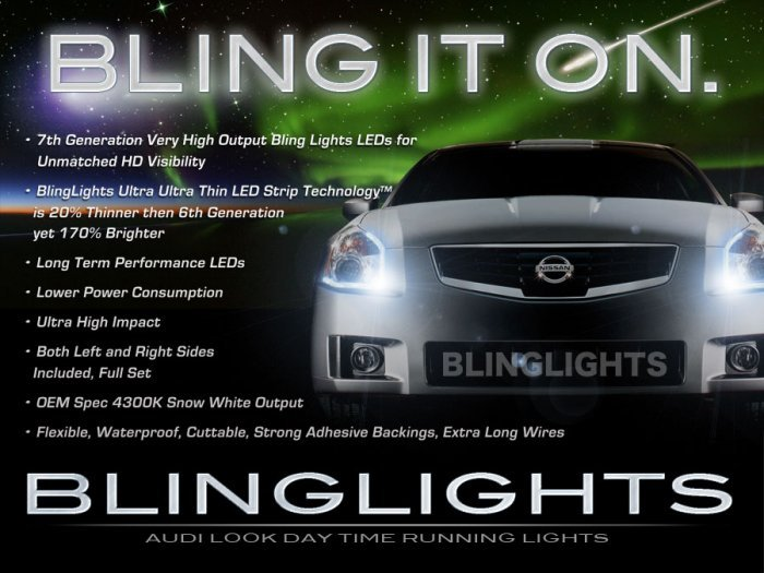 2007 2008 Nissan Maxima White LED DRLs Day Time Running Lights for Headlamps Headlights Head Lamps