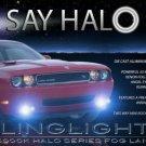 White Halo Fog Lamps Driving Lights Kit for 2008-2014 Dodge Challenger Fr Bumper