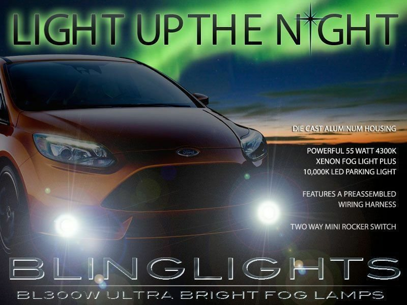 Xenon Halogen Fog Lamps Driving Light Lights Kit Set for 2012-2014 Ford Focus