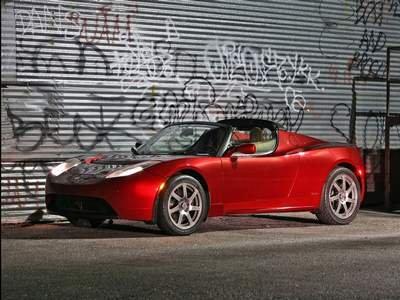 "Tesla Roadster Red Car Poster Print on 10 mil Archival Satin Paper 16"" x 12"""