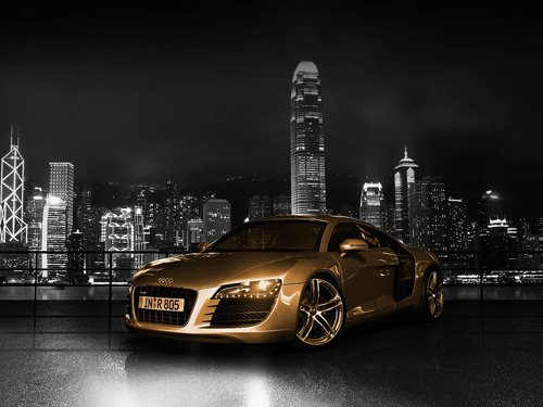 "Audi R8 Gold Car Poster Print on 10 mil Archival Satin Paper 16"" x 12"""