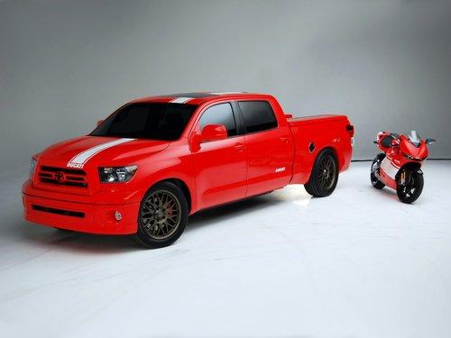 "Toyota Tundra Ducati Transporter Truck Poster Print on 10 mil Archival Satin Paper 16"" x 12"""
