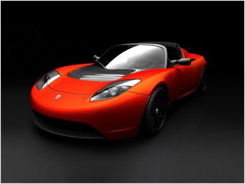"Tesla Roadster Sport Car Poster Print on 10 mil Archival Satin Paper 16"" x 12"""
