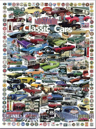 """Classic and Muscle Car Collage Car Poster Print on 10 mil Archival Satin Paper 18"""" x 24"""""""