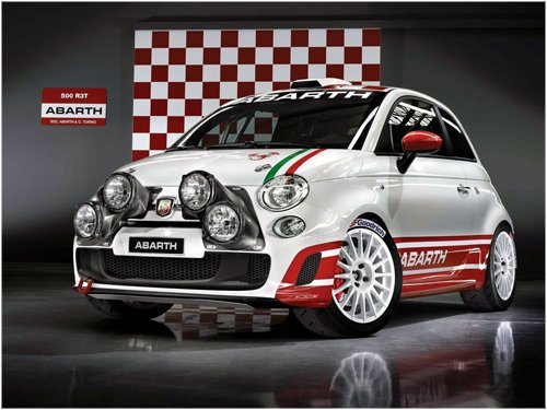 """Fiat Abarth 500 R3T Rally Car Poster Print on 10 mil Archival Satin Paper 16"""" x 12"""""""