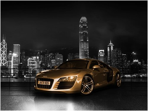 "Audi R8 Gold Car Archival Canvas Print (Rolled) 16"" x12"""