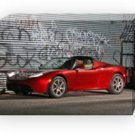 "Tesla Roadster Red Car Archival Canvas Print (Mounted) 16"" x 12"""