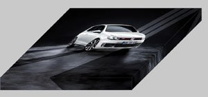 "Volkswagen Golf GTI Adidas Archival Canvas Car Print (Mounted) 16"" x 12"""