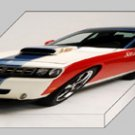 "Sox & Martin Hemi Cuda Car Archival Canvas Car Print (Mounted) 16"" x 12"""