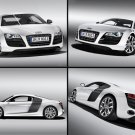 "Audi R8 V10 5.2 FSI quattro 2010 Montage Archival Canvas Car Print (Rolled) 16"" x 12"""