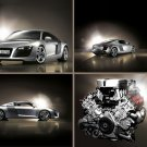 "Audi R8 Montage Car Poster Print on 10 mil Archival Satin Paper 16"" x 12"""