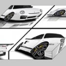 "Vorsteiner Porsche 911 Turbo V-RT Montage Archival Canvas Car Print (Mounted) 16"" x 12"""