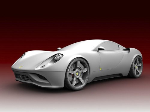 "Ferrari Dino Concept Car Poster Print on 10 mil Archival Satin Paper 16"" x 12"""