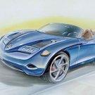 """Mercedes-Benz Vision SLA Concept Car Drawing Poster Print 20"""" X 15"""""""