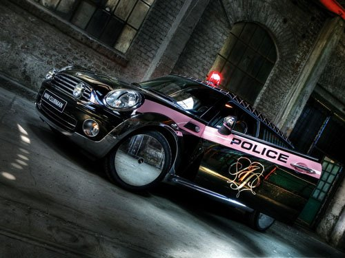 """Mini Cooper ClubMan Life Ball Police Car Poster Print on 10 mil Archival Satin Paper 16"""" x 12"""""""