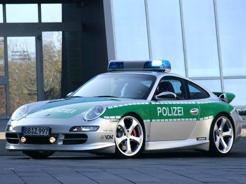 "Porsche TechArt 911 Carrera S Police Car Poster Print on 10 mil Archival Satin Paper 16"" x 12"""