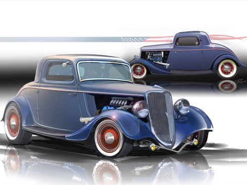 """1934 Ford 3-Window Coupe Hot Rod Car Poster Printon 10 mil Archival Satin Paper 16"""" x 12"""""""