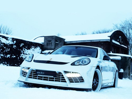 """Porsche Edo Competition Panamera Turbo Moby Dick Archival Canvas Car Print (Rolled) 16"""" x 12"""""""