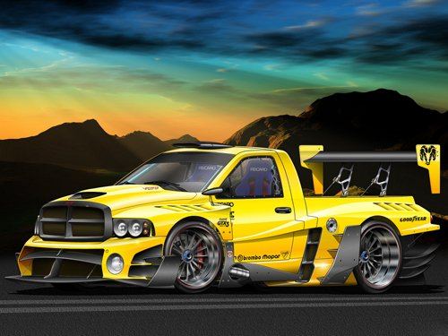 "Dodge RAM SRT Evo Custom Truck Poster Print on 10 mil Archival Satin Paper 20"" x 15"""
