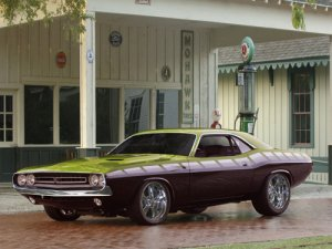 """Plymouth Barracuda Custom Car Poster Print on 10 mil Archival Satin Paper 16"""" x 12"""""""