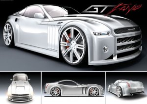 "GT Fang Concept Car Poster Print on 10 mil Archival Satin Paper 16"" x 12"""