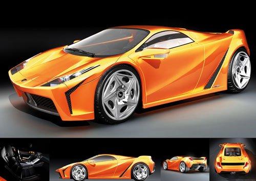 """Ferruccio Concept Car Poster Print on 10 mil Archival Satin Paper 24"""" x 17"""""""