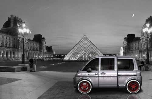 "Mia Electric Microbus Car Poster Print on 10 mil Archival Satin Paper 16"" x 12"""