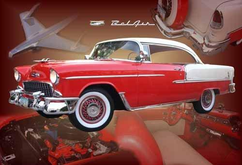 "Chevrolet Bel Air Hardtop (1955) Custom Car Poster Print on 10 mil Archival Satin Paper 30"" x 20"""