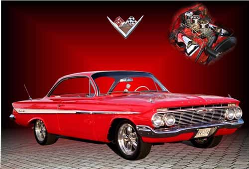 "Chevrolet Impala 348 (1962) Car Poster Print on 10 mil Archival Satin Paper 24"" x 16"""