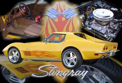 "Chevrolet C3 Corvette Coupe Collage (1972) Car Poster Print on 10 mil Archival Satin Paper 24"" x 16"""