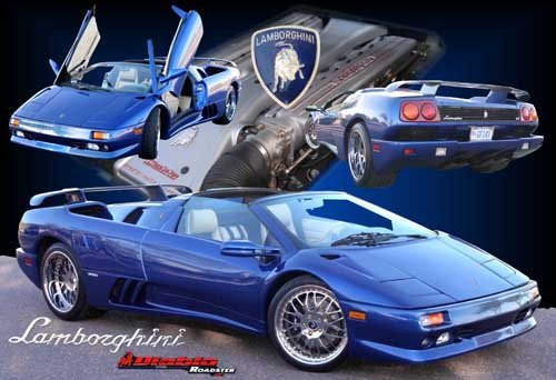 "Lamborghini Diablo Roadster Collage Car Poster Print on 10 mil Archival Satin Paper 24"" x 16"""