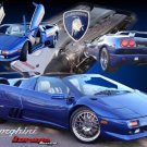 "Lamborghini Diablo Roadster Collage Car Poster Print on 10 mil Archival Satin Paper 24"" x 16"""