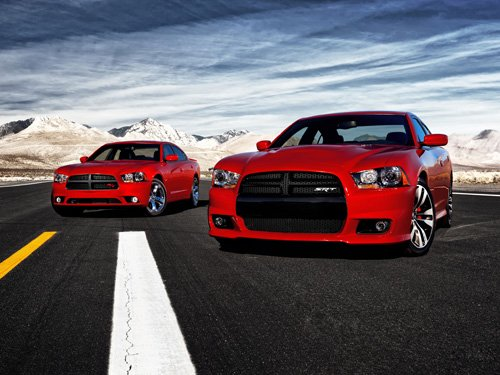 "Dodge Charger R/T and Charger SRT8 Car Poster Print on 10 mil Archival Satin Paper 24"" x 18"""
