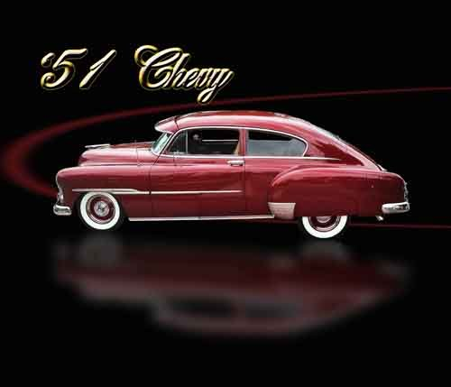 "Chevrolet 2 Door Coupe (1951) Car Poster Print on 10 mil Archival Satin Paper 36"" x 24"""