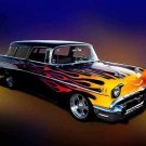 "Chevrolet Flamed Wagon (1957) Car Poster Print on 10 mil Archival Satin Paper 16"" x 12"""