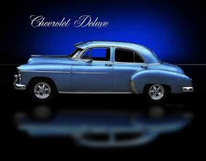 "Chevrolet DeLuxe 4-Door Sedan (1950) Car Poster Print on 10 mil Archival Satin Paper 24"" x 18"""